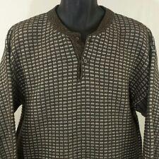 Jantzen Classics Sweater Henley Collar Brown Gray Mens Size Large EUC
