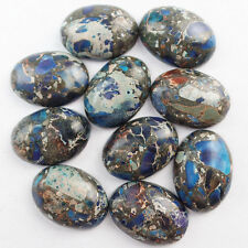 10pcs Blue Sea Sediment Jasper & Pyrite Oval CAB CABOCHON 25x18x7mm