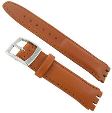 17mm Genuine Oiled Leather Padded Stitched Tan Brown Watch Band Fits Swatch