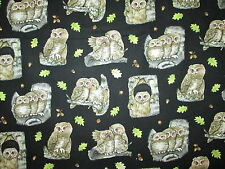 OWLS PATCHES REALISTIC LEAF OWL GREEN BLACK COTTON FABRIC BTHY