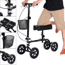 New Steerable Foldable Knee Walker Scooter Turning Brake Basket Drive Cart Black