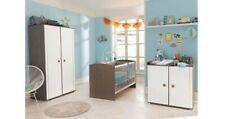 Chambre Complète Bébé9 NOLAN Lit+Armoire+Commode/Table à Langer Chêne Gris Blanc