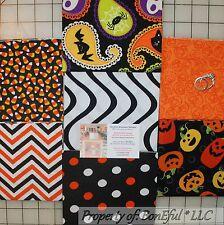 BonEful Fabric COTTON QUILT VTG Orange B&W Halloween Pumpkin Stripe NR SCRAP LOT