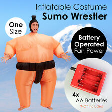 Inflatable Costume Sumo Wrestler Battery Operated Fan Power Jumpsuit One Size