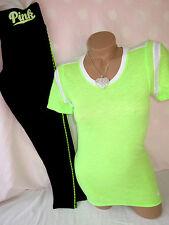 Victoria's Secret PiNK Leggings T Shirt Yoga Pants Neon Lime 2PC SET S NWT