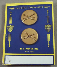 US Army Cavalry Enlisted Vintage Collar Branch Insignia On Original Card 1948