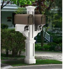 Mayne Double Mailbox Post Plastic Decorative Fade Resistant White Finish New