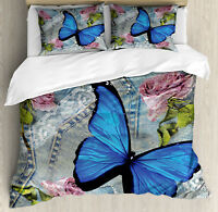 Butterfly Duvet Cover Set with Pillow Shams Bloom Weathered Roses Print