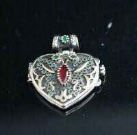 Turkish Handmade Sterling Silver 925 Ruby & Emerald Pendant