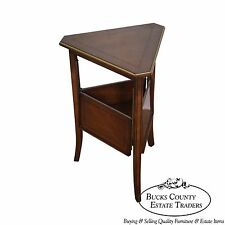 Custom Quality Regency Directoire Triangle Side Table w/ Expandable Shelf
