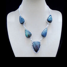 Labradorit blau grau grün Tropfen Design Kette Halskette Collie Silber plattiert