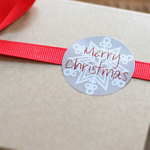 105x Merry Christmas Card Envelope Seal Stickers Badge Snowflake Gift Tags 35mm