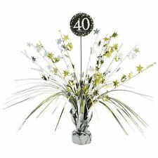 Gold 40th Birthday Table Decoration Centrepiece Spray Cascade  Weighted 33cm