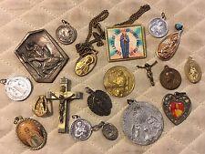 Vtg Lot Catholic Religious Pendant Medals Crosses Flicker Flasher