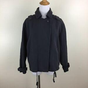 ATHE VANESSA BRUNO Women sz 36 Gray Drawstring Hem Button Sleeve Tab Coat Jacket