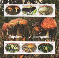 BUTTERFLIES AND MUSHROOMS REPUBLIQUE CENTRAFRICAINE 2012 MNH STAMP SHEETLET