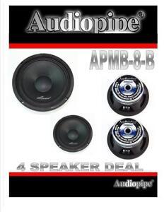 """2 Pairs 8"""" 500W Full Range Loud Speakers Low Mid Range Audiopipe APMB-8-B"""