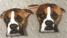 """2 British Bulldog Face Soft Cotton 13 x19"""" Cushion Cover Sofa Bed Excellent Cond"""