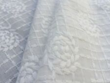 Broderie Anglaise on cotton lawn, 'Candice' Ivory (per metre) dress fabric