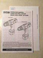 Ryobi Cordless Drill Driver HP962 HP1202M Operators Manual Instructions Guide