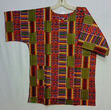 Men Clothing African Kente Print Dashiki Top African Ethnic Shirt Pr#25 S M L XL