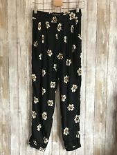 ZARA Basic Black Flower Floral Polka Dot Joggers Pants S Small * RARE!