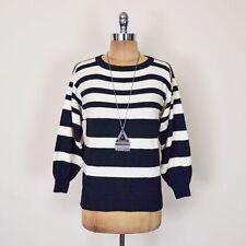 Vintage 80s 90s Grunge Black Off White Stripe Wool Pullover Sweater Jumper PS S