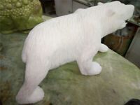 17+ lb Awesome!! A White Jade Carving Polar Bear statue healing
