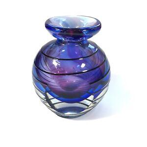 Vintage Mid Century Purple Glass Vase Black Spiral 12cm In Height