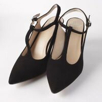 Andre Assous Olenna Black Suede T-Strap Heels Women's Shoes Size 8 New in Box