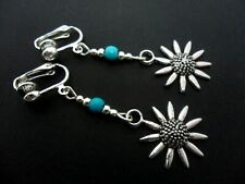 Bead Sunflower Clip On Earrings. New. A Pair Of Tibetan Silver & Turquoise