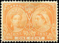 1897 Mint H Canada F+ Scott #51 1c Diamond Jubilee Issue Stamp