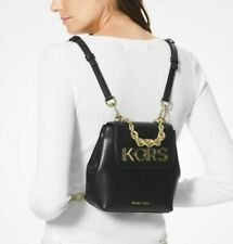 """Michael Kors Small XS Leather Backpack Black Convertible """"KORS"""" Rope Chain RARE!"""