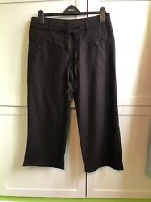 Next Ladies Brown Cropped Trousers Linen Mix Size 12P