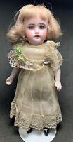 """Antique 8"""" Cabinet Mignonette Size German Bisque Head Composition Doll DEP 12/0"""