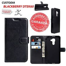 CUSTODIA COVER FLIP ORIZZONTALE NERO + HOLDER + CARD SLOT per BLACKBERRY DTEK60