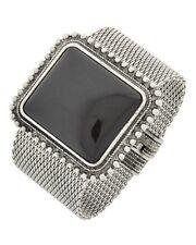 Square Black Lucite Stud Antique look Silver Tone Wide Mesh link Bracelet