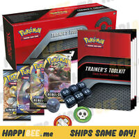 Pokemon TCG Trainer's Toolkit🍯4x Sword & Shield Booster Pack Cards +65 Sleeves