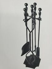 New 5 Pcs Fireplace Tools Sets Black Handle Wrought Iron Fire Tool Set & Holder