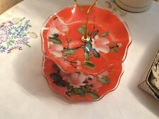 vintage pressed glass cake stand .fiesta flame red .Yasmin.