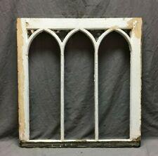 Antique 28x30 Arch Gothic Window Sash Shabby White Vintage Chic 316-20B