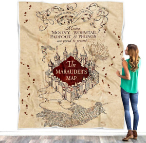 Harry Potter Blanket, The Marauders Map Quilt, Marauder's Map Fleece Blanket