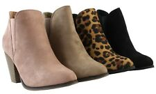 Women Fashion Ankle Booties Chunky Block High Heel Boots Pull On Office Shoes
