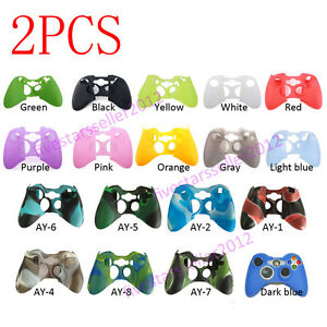 2X Rubber Skin Silicone Gel Protective Cover For Microsoft Xbox 360 Controller