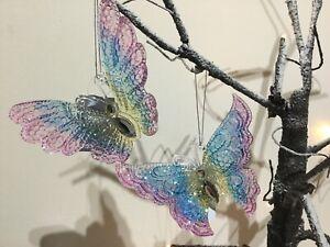 Gisela Graham Acrylic Multi Pastel & Diamante Butterfly Xmas Decoration 13cm