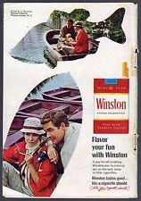 1967 WINSTON CIGARETTE AD~FISHING BOAT~COUPLE SMOKING~TOBACCO~SMOKES