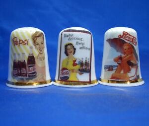 Birchcroft Thimbles -- Set of Three -- Pepsi Cola Advertising Posters