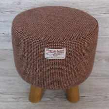 Harris Tweed Wine & Fawn Mix Twill Footstool Stool Hand Covered in the UK