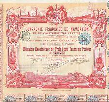 FRANCE NAVIGATION & SHIPBUILDING COMPANY  stock certificate 1901 BEAUTY