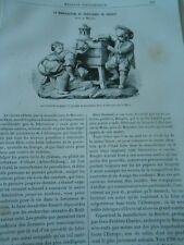 La Lanterne Magique groupe en porcelaine dure Gravure Antique Print 1885